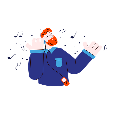 Happy ginger man listening to music on headphones with closed eyes and singing along Illustration