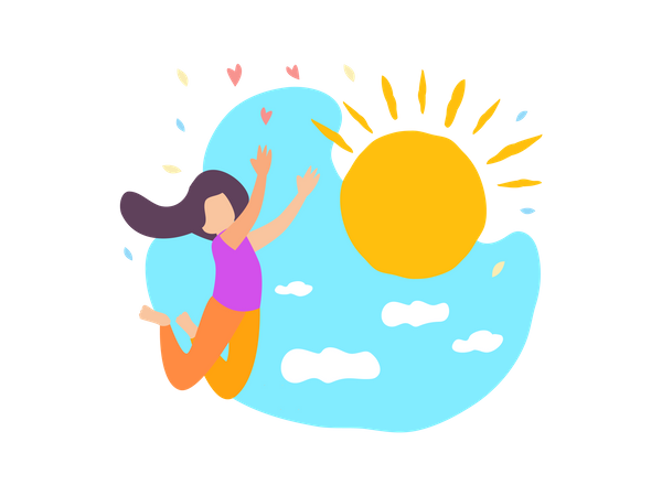 Happy Girl Jump with Sun Shine Blue Sky with Cloud Illustration