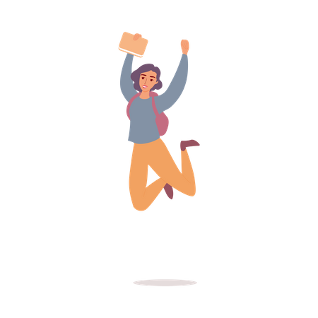 Happy girl jumping with bag Illustration