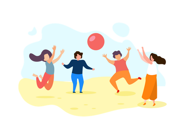 Happy Group of Children Play Ball at Beach Illustration