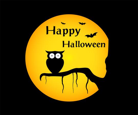 Happy halloween background with Illustration owl silhouette on moon Illustration