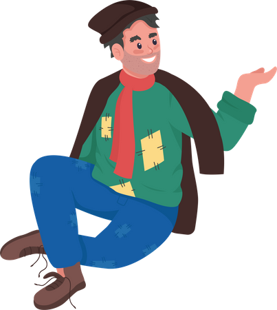 Happy homeless man Illustration