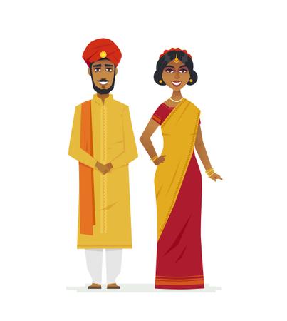 Happy Indian Couple Illustration