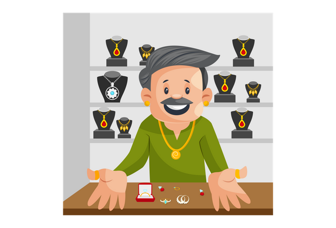 Happy Indian Male Jeweler Illustration