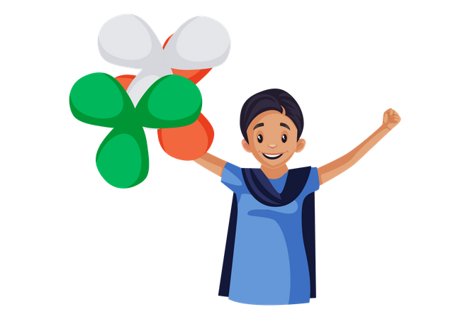 Happy Indian woman holding balloons in hands Illustration