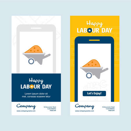 Happy Labour Day Design With Yellow And Blue Theme Vector With Hardware Tool Logo Vector Illustration