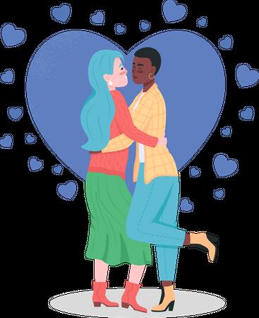 Happy lesbian couple Illustration