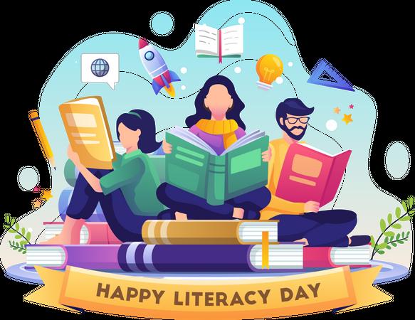 Happy Literacy Day Illustration