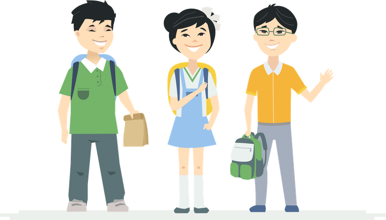 Happy little boys and a girl, students with backpacks waving hands and smiling Illustration