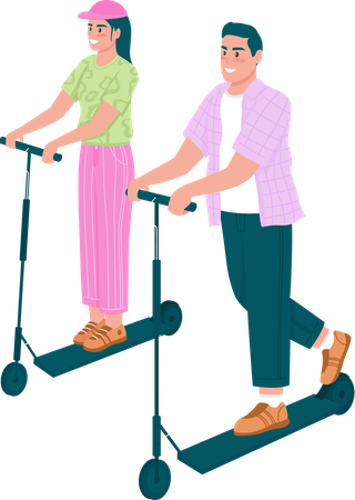 Happy man and woman riding electric scooters Illustration