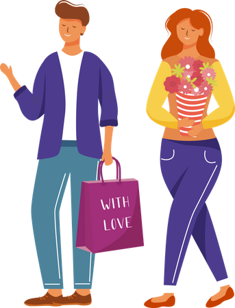 Happy man and woman with presents Illustration