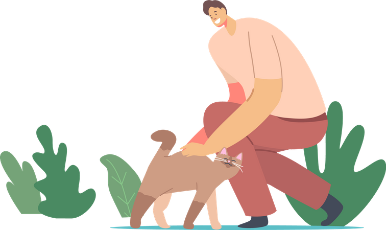 Happy Man Caress Cat Illustration