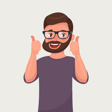 Happy man in glasses with beard shows gesture cool Illustration
