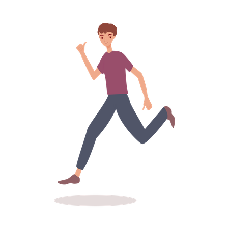 Happy man jumping in air with thumbs up Illustration