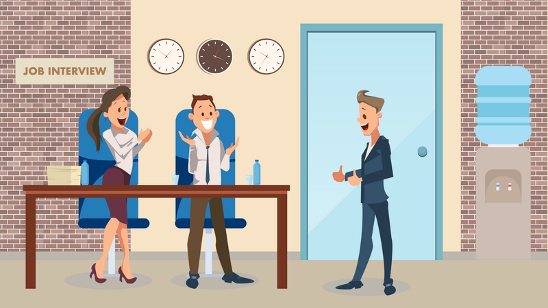 Happy Man Smiling at Office Workers and showing Thumb Up Illustration