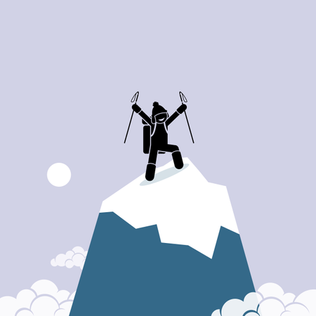 Happy man successfully climb on top of the mountain Illustration