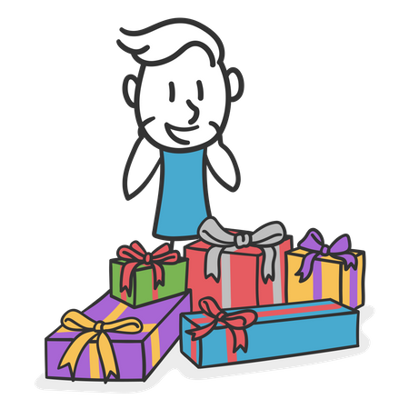 Happy man surrounded by presents Illustration