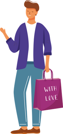 Happy man with gift bag Illustration