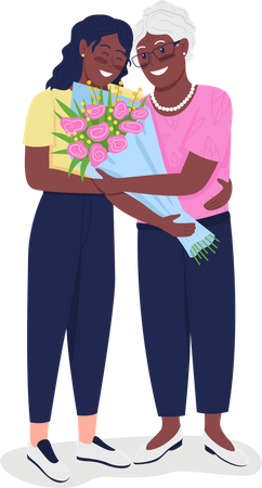 Happy mature mother with adult daughter Illustration