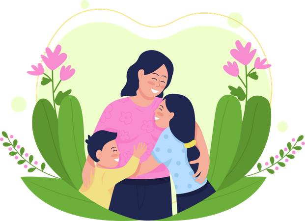 Happy mother with children Illustration