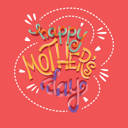 Happy Mother's Day, hand lettering typography modern poster design Illustration