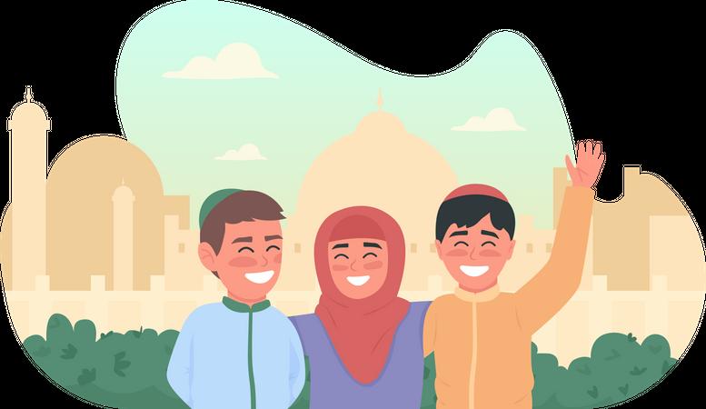 Happy muslim children Illustration