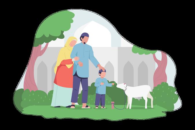 Happy Muslim family feeding a goat Illustration