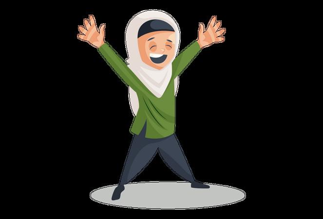 Happy Muslim woman Illustration