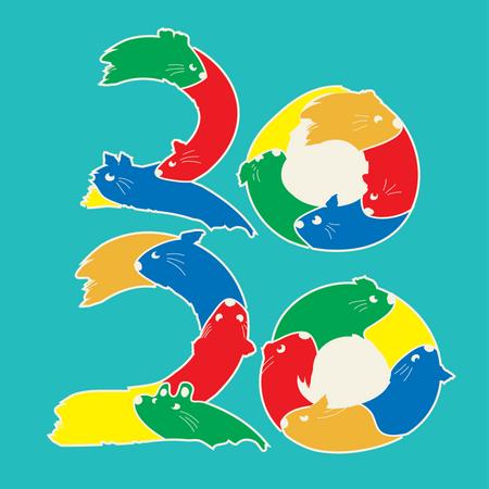 Happy new year 2020 year of the rat zodiac Illustration