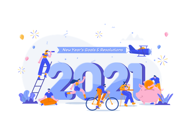 Happy New Year 2021. Goals And Resolutions 2021 Concept Illustration. Tiny People Having Fun With Their Goals In 2021 Illustration