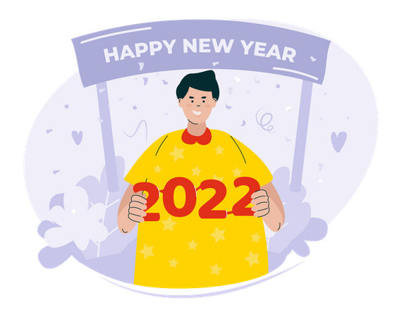 Happy new year 2022 Illustration