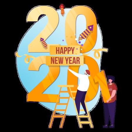 Happy new year Illustration