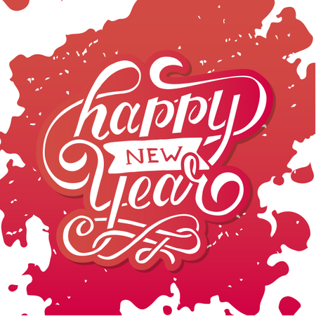 Happy New Year Vector Gradient Phrase Lettering Calligraphy Sticker Illustration