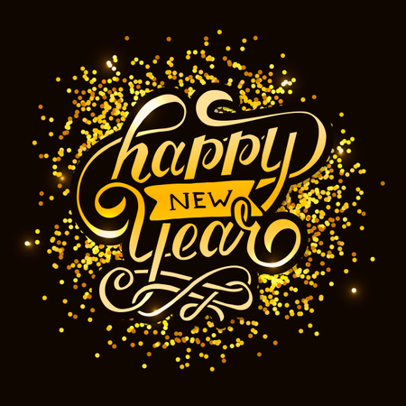 Happy New Year Vector Gradient Phrase Lettering Calligraphy Sticker Gold Illustration