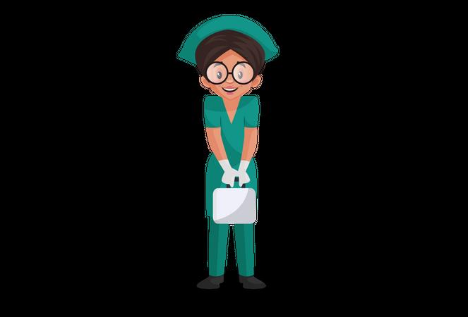 Happy Nurse holding medical kit in hands Illustration