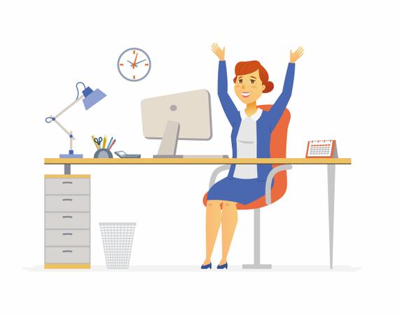 Happy Office Worker Illustration
