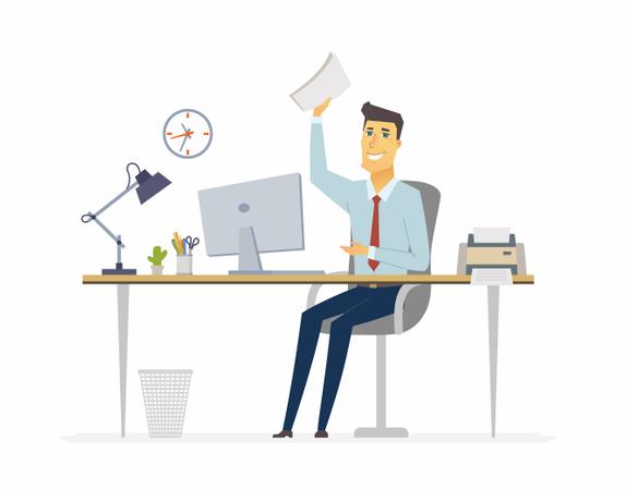 Happy Office Worker Working On Desk Illustration