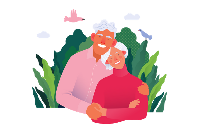 Happy Old aged People with Medical Insurance Illustration