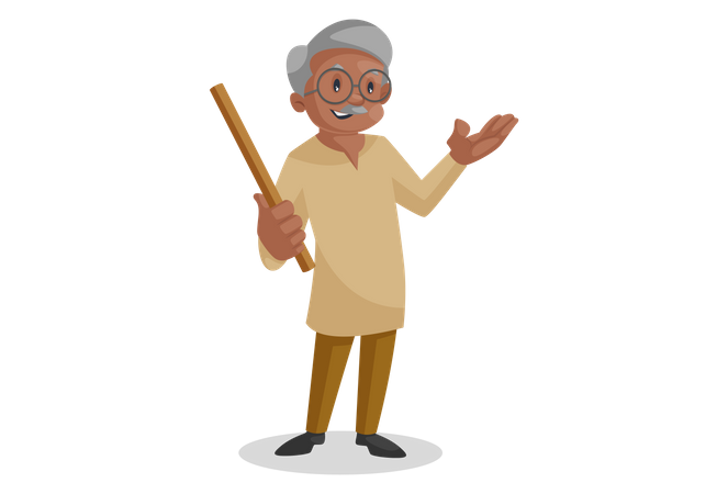 Happy Old man holding a stick in hand Illustration