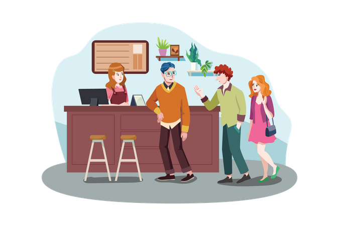 Happy people meeting in coffee shop Illustration