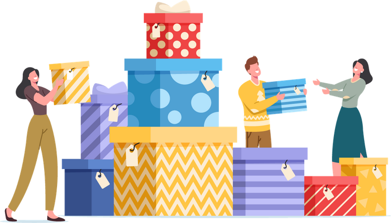 Happy People with Gift Boxes Wrapped with Festive Bow Illustration