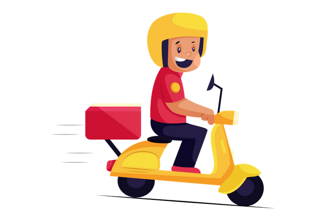 Happy Pizza Delivery Man on scooter Illustration