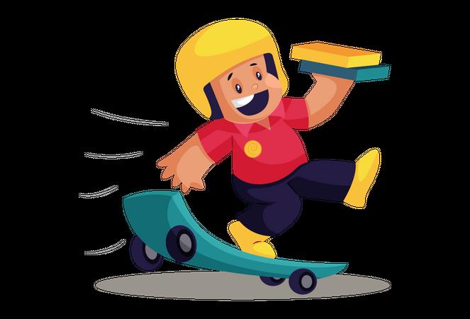 Happy Pizza Delivery Man on Skateboard Illustration
