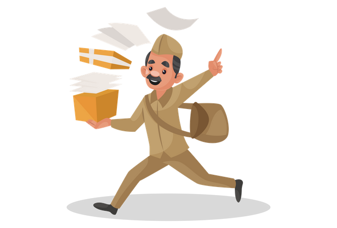 Happy postman running and holding letter box in his hand Illustration