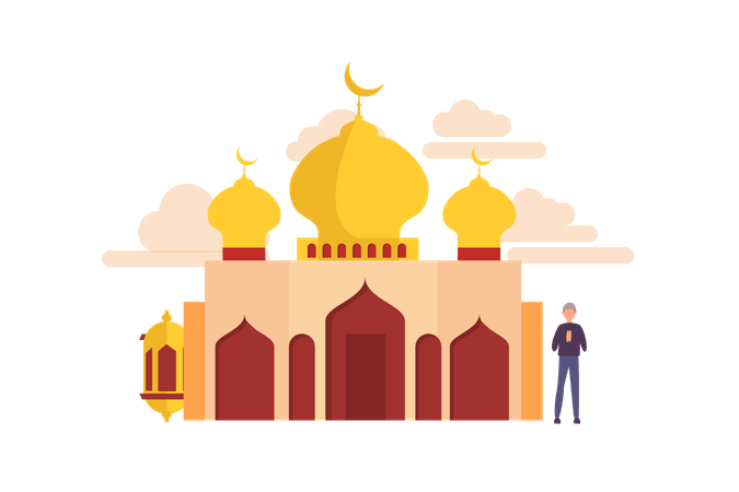 Happy ramadan concept with tiny people character for web landing page template, banner, flyer and presentation. islamic eid fitr or adha flat design Illustration