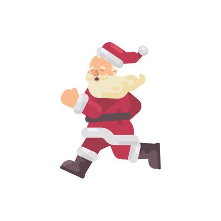 Happy Santa Claus Running Flat Christmas Character Illustration Illustration
