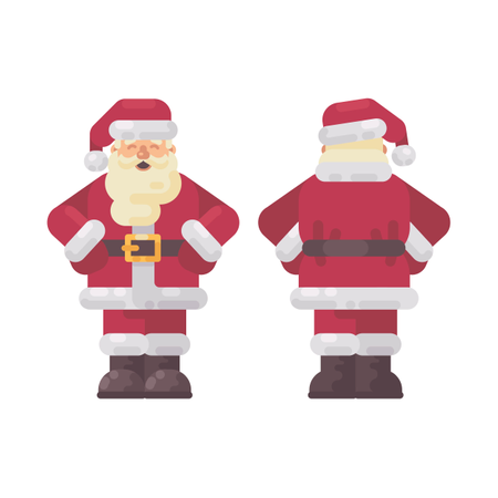 Happy Santa Claus Standing Hands On Waist, Front And Back Views. Christmas Character Flat Illustration Illustration