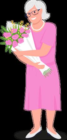 Happy senior Caucasian woman with flowers Illustration