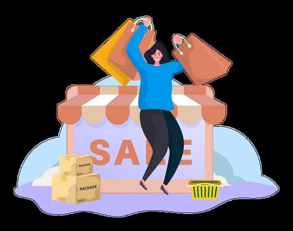 Happy shopping Illustration