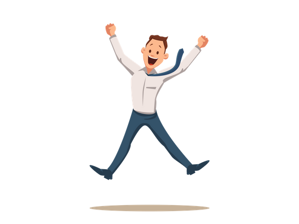 Happy Smiling Businessman Coworker Jumping Illustration